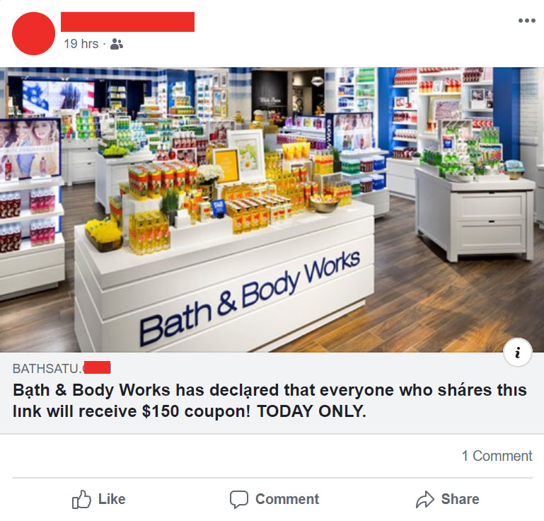 Example Bath & Body Works Coupon Scam on Facebook