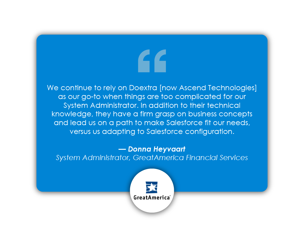"""Testimonial Reads: """"We continue to rely on Doextra [now Ascend Technologies] as our go-to when things are too complicated for our System Administrator. In addition to their technical knowledge, they have a firm grasp on business concepts and lead us on a path to make Salesforce fit our needs versus us adapting to Salesforce configuration."""""""