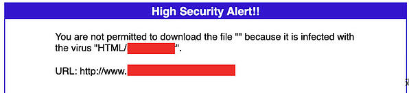 Firewall Security blocked the automatic malware download, indicating the drive-by attack.